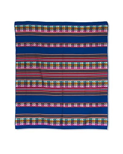 Uptown Down Found Peruvian Woven Throw, Navy Blue/Multi