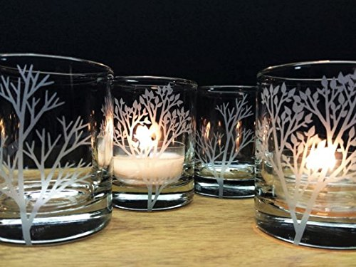 Woodland Candle Holders Set Of 4 Clear Glass Votive Holders Wedding Favors