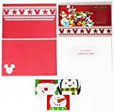 Disney Mickey Mouse Christmas Cards Box Set of 18 Holiday Greeting Cards with Self-Sealing Envelopes and 3 Gift Card Holders