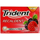 Trident Recaldent Chewing Gum Berrymint Flavored Sugar Free Dental Health Net Wt 12.6 G (9 Pellets) X 10 Boxes