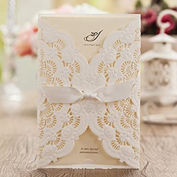 Wishmade 50x Elegant White Laser Cut Wedding Invitations Cards Kits with Lace and Hollow Flowers Card Stock Paper for Birthday Anniversary Baby Shower Graduation Quinceanera(set of 50pcs) CW5111