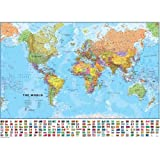 "Laminated World Map with Flags 41"" x 29"" ~ Hema Maps"
