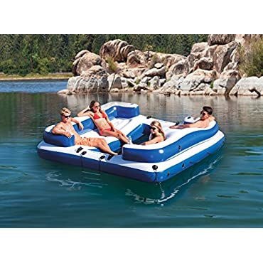 Intex Oasis Island Inflatable 4-Person Water Lounge Raft with Mesh Floor and Step Ladder