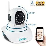 Security Camera Wifi Wireless IP Camera Baby Monitor 720P HD Pan Tilt (Day/Night Vision,2 Way Audio,SD Card Slot, Alarm)-XUCOO