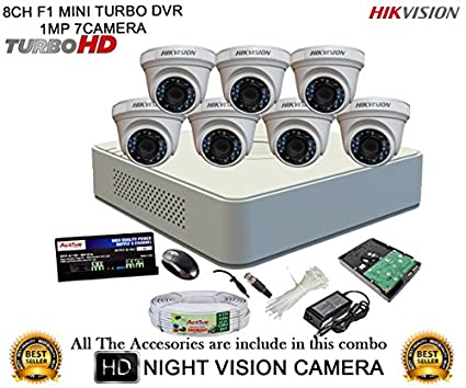 Hikvision-DS-7108HGHI-F1-Mini-Dvr,-7(DS-2CE56COT-IR)-Dome-Cameras-(Mouse,-2TB-HDD,-Bnc&Dc-connectors,Power-Supply,Cable)
