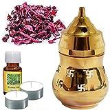 PeepalComm Gold Brass Swastik Oil Diffuser Lamp With Potpurri & Aroma Oil Liquid Air Freshener - B01FBYYOII