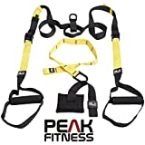 PEAK FITNESS Cross Fit Suspension Trainer with door anchor, straps, heavy duty buckles and carry bag for body weight workout, ideal for burning fat, building muscle, core workouts and recommended for every home gym. 100% Satisfaction - NO RISK. Full Free 60 Day Money Back Guarantee