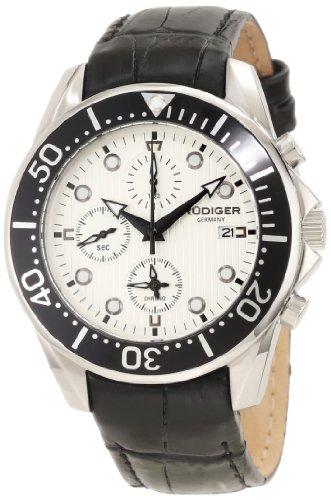 Rudiger Men's R2001-04-001L Chemnitz Black IP Rotating Bezel Silver Dial Chronograph Watch