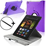 Forefront Cases Leather Rotating Cover/Stand Case with Magnetic Auto Sleep Wake Function and Stylus Pen for 7 inch Amazon Kindle Fire HD 2013 - Purple