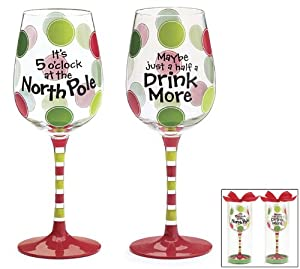 Set of 2 north pole christmas wine glass goblets 2 different messages for holiday fun - Funny wine glasses uk ...