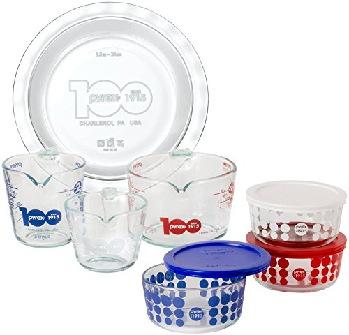 Pyrex 100 Year 10-Piece Centennial Glass Bakeware and Food Storage Set