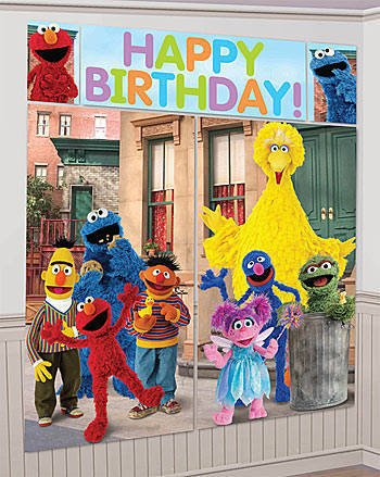 Elmo Sesame Street Scene Setter Wall Decorations Kit - Kids Birthday and Party Supplies Decoration