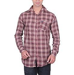 Cotblend Men's Casual Shirt (CB-DCHK-Blue-L, Brown, L)
