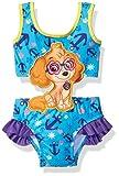 Paw Patrol Toddler Girls One Piece Swim Suit Set with Applique 2, Blue, 4T
