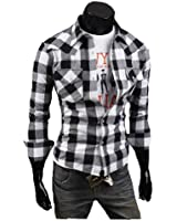 Zehui Mens Stylish Plaid Style Cotton Leisure Casual Fit Slim Long Sleeve Shirt
