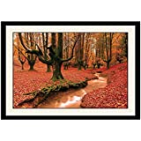 ArtStory Wooden Beautiful Red Forest Scenery Framed Wall Painting (26 Cm X 16 Cm X 2 Cm)