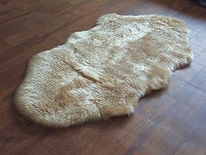 Beige soft faux fur double shape sheepskin style rug 70 x 140 cm washable