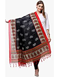 Varanga Black & Red Printed Art Silk Dupatta KFBG184