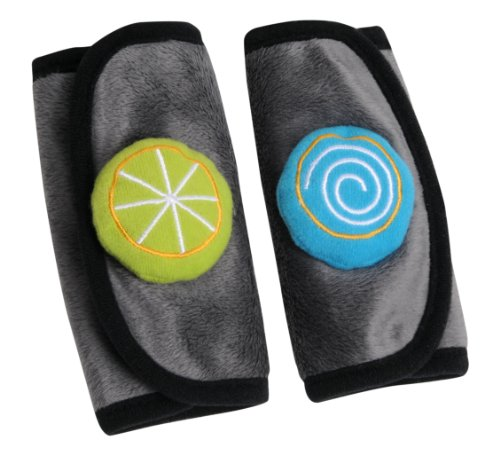 Brica Cushies Button Up Strap Covers, Gray/Blue/Green front-662686