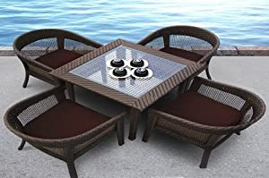 TOSH Furniture 5 Piece Brown Wicker Dining Set from Tosh Furniture