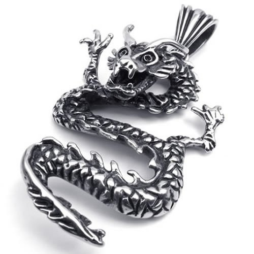 20″ KONOV Jewelry Vintage Stainless Steel Gothic Dragon Pendant Biker Mens Necklace, Color Silver Black, 20 inch Chain (with Gift Bag)