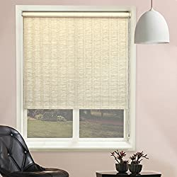 Chicology Roller Shade, Clutch Lift System, Continous Loop, Privacy Fabric, Florenze Maize (Beige), 36x64