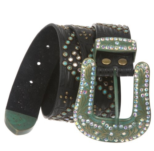 Ladies Western Turquoise Rhinestone Studded Genuine Leather Belt Size: M/L - 38 Color: Black
