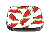 Snoogg Watermelon Designer Pack of 4 Square Table Coasters / Table and Kitchen Accessories