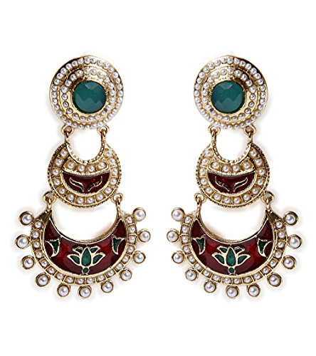 Gold plated Kundan Polki Earrings (yellow)