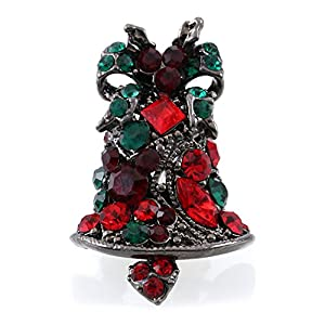 Ribbon Pin & Bell Brooch Red Green Rhinestone Christmas Gift Stuffers for Women