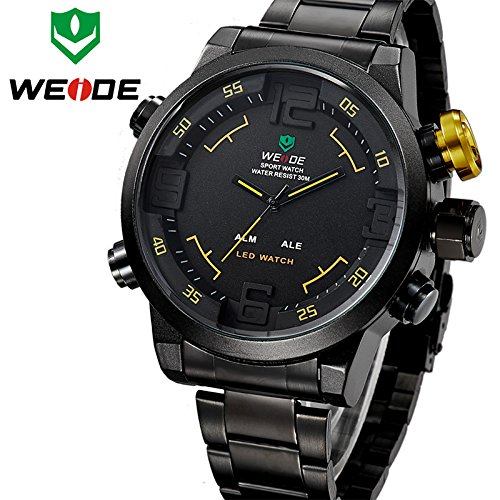 Weide Relogio Multi-Function Military Watch For Men'S Quartz Fashion Casual Watches Men Full Steel Led Display Wristwatches (Yellow Number)