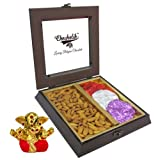 Chocholik Premium Gifts - Ideal Match Of Almonds & Belgium Chocolate Rocks With Small Ganesha Idol - Diwali Gifts