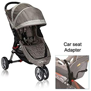 baby jogger city mini stroller in sand stone with a car seat adapter jogging. Black Bedroom Furniture Sets. Home Design Ideas