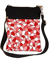Snoogg Abstract Red Blocks Pattern Cross Body Tote Bag / Shoulder Sling Carry Bag