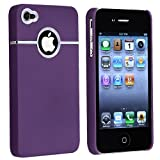 Snap-on Rubber Coated Case compatible with Apple iPhone 4 / 4S, Purple with Chrome Hole