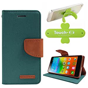 DMG Premium Canvas Diary Wallet Folio Book Cover for Lenovo K3 Note (Green) + Touch U Mobile Stand