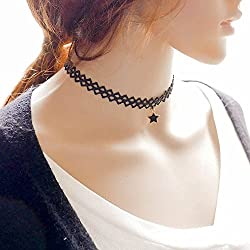 Phenovo 5pcs Star Faux Pearl Tassel Choker Chunky Statement Bib Lace Necklace Black