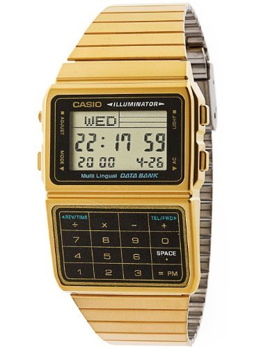 Casio DBC611G-1D Casio Gold Data Bank. Back in the 80s these beautiful watches were the latest must have gadget, and if you had a gold Data Bank then you were classed as a YUPPIE!