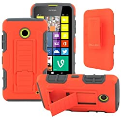 Nokia Lumia 635 Case, Nokia Lumia 630 Case CellJoy {Orange / Gray} [Future Armor] Hybrid Ultra Fit Dual Protection Holster **Kickstand** [ Locking Swivel Belt Clip Holster Combo] - Robot Case for Nokia Lumia