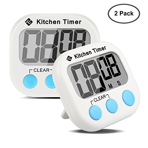 Etekcity Digital Kitchen Timer: Large LCD Display, Battery Included (2 Pack)