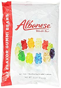 Albanese 12 Flavor Assorted Gummi Bears, Fat Free, 5-Pound Bags (Pack of 2)