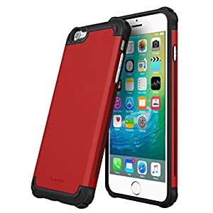 iPhone 6s Case, roocase [Exec Tough PRO] iPhone 6s Slim Fit Case Hybrid PC / TPU [Corner Protection] Armor Cover Case for Apple iPhone 6 / 6s (2015), Carmine Red