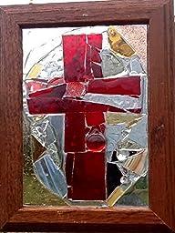 Cross Stained Glass Mosaic Sun Catcher Window Art OOAK Handmade