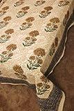 インド 木版染め(ブロックプリント)シングルベッドカバー 生成り系 草花