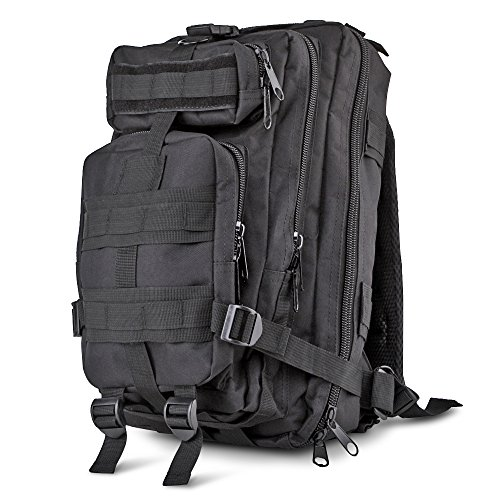 Flexzion Tactical Backpack (Black) Outdoor Military Unisex Rucksack Travel Molle Daypack Bag 30 L Capacity 600D Nylon for Camping Hiking Hunt Trekking with Multi Zippered Pocket (Mossad Type Tactical Cargo Bag compare prices)