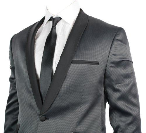 Mens Slim Fit Dinner Suit Black Shiny 1 Button Grey Pattern Body UK Stock