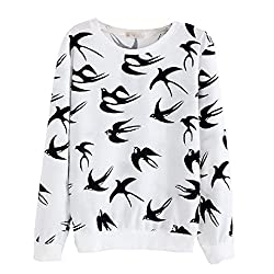 Jiayiqi Women's Sweater Lovely Cartoon Full Print Sweatshirt Pullover Tops