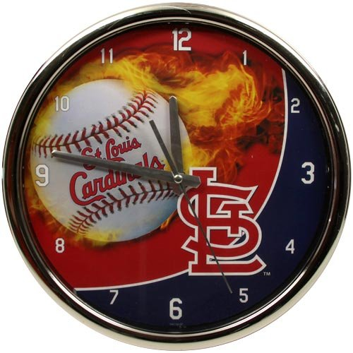 MLB St. Louis Cardinals Flame Chrome Clock