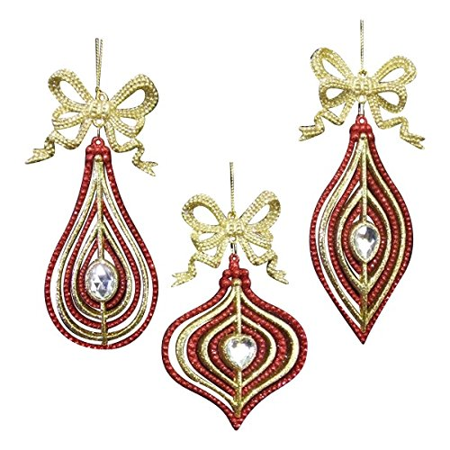Kurt Adler Acrylic Red & Gold Drop, Finial & Onion With Gold Bow Ornaments