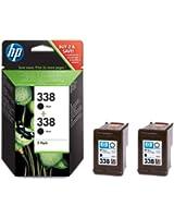 HP 338 Cartouche d'encre d'origine Pack de 2 Noir